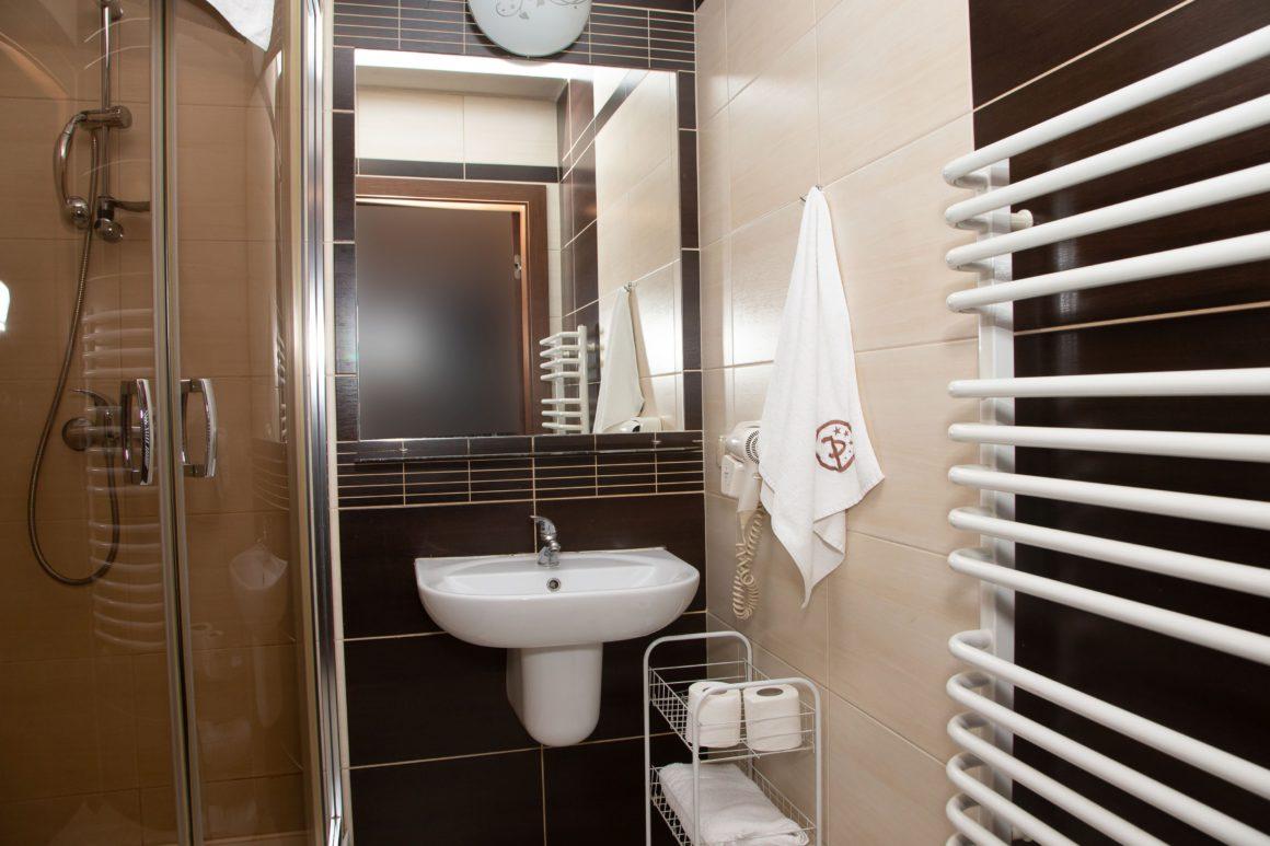 Łazienka w pokoju Hotelu Piniocy